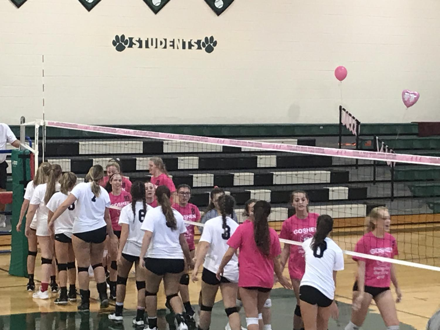 The volleyball team decked out in pink after the game.