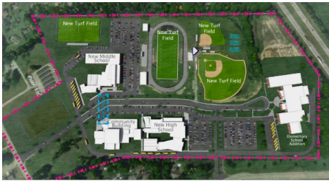 The proposed layout for the completed Bulldog Place campus.